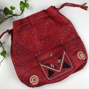 Vtg Leather Red Boho Satchel Hobo Bag